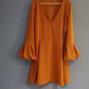 Boohoo size 20 mustard color midi dress